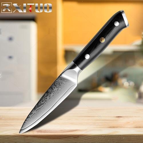 ダマスカス包丁 【XITUO 公式】  ペティナイフ 刃渡り 8.5cm  VG10  ks20082320