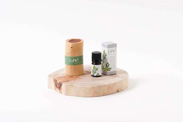 Life! / pure hinoki oil & pot(ヒノキのエッセンシャルオイル&オイルポット)ギフト用セット