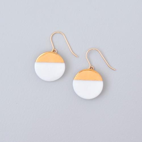 白磁金彩ピアス・サークルプレート - ブライトゴールド