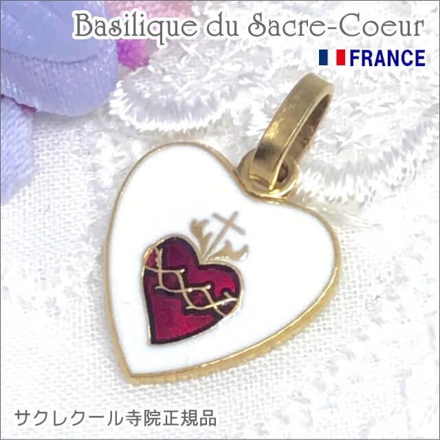 金色ハート型イエスキリストの聖心メダイユ パリ サクレクール寺院正規品 フランス製 ペンダント ゴールドネックレス
