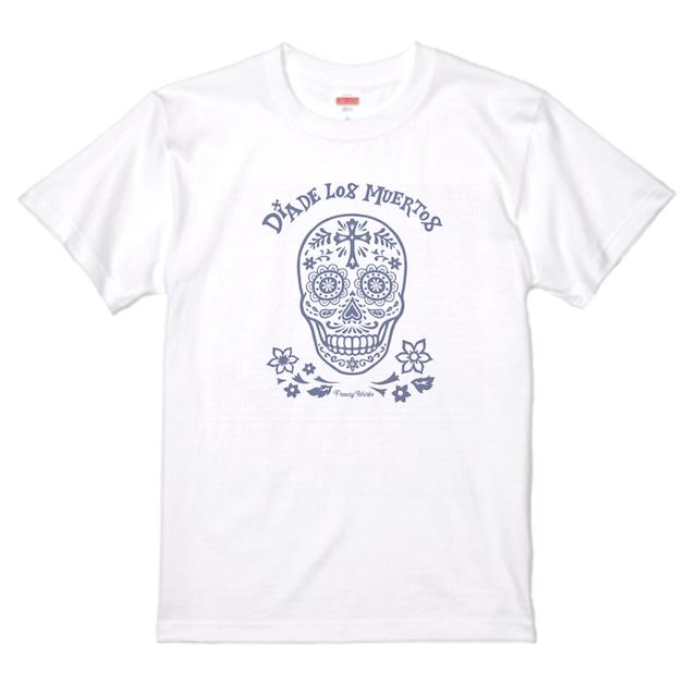 DIA DE LOS MUERTOS 死者の日 骸骨 メキシカンスカル ホワイト Tシャツ