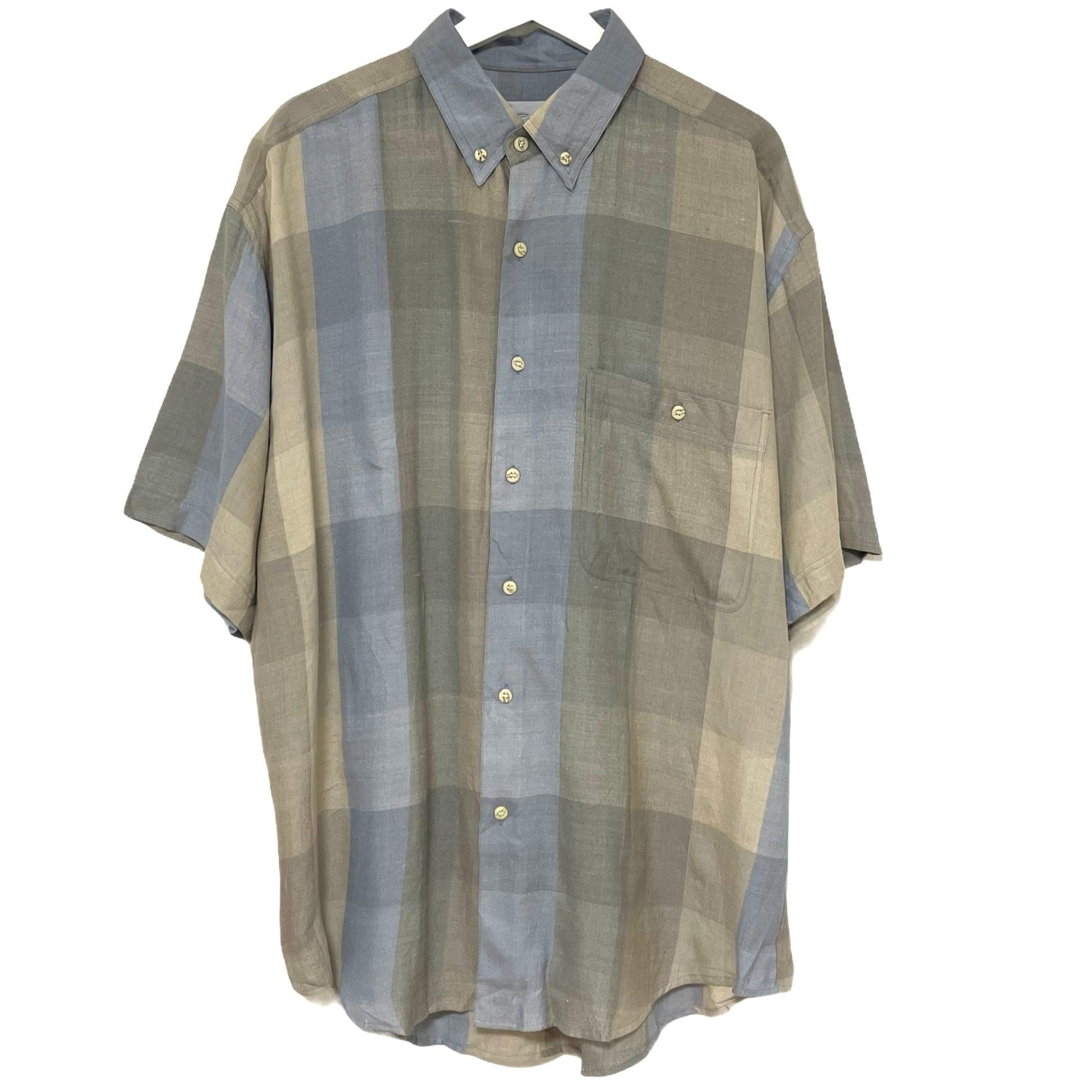 Dead Stock 90's Silk & Linen Shirt 【 Plaid Short Sleeve 】