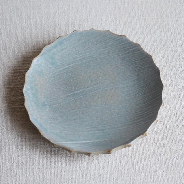 輪花皿 Blue L