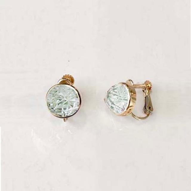 Green Quartz KIRIKO Earrings (Round)