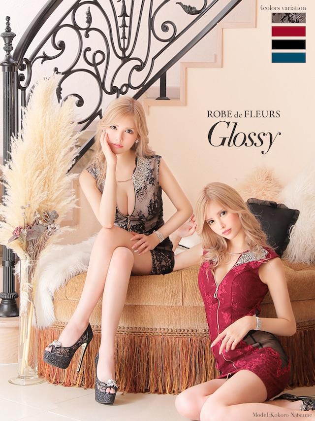 【ROBE de FLEURS Glossy】フロントジッパー×サイドチュール切替タイトミニドレス(GL2406)
