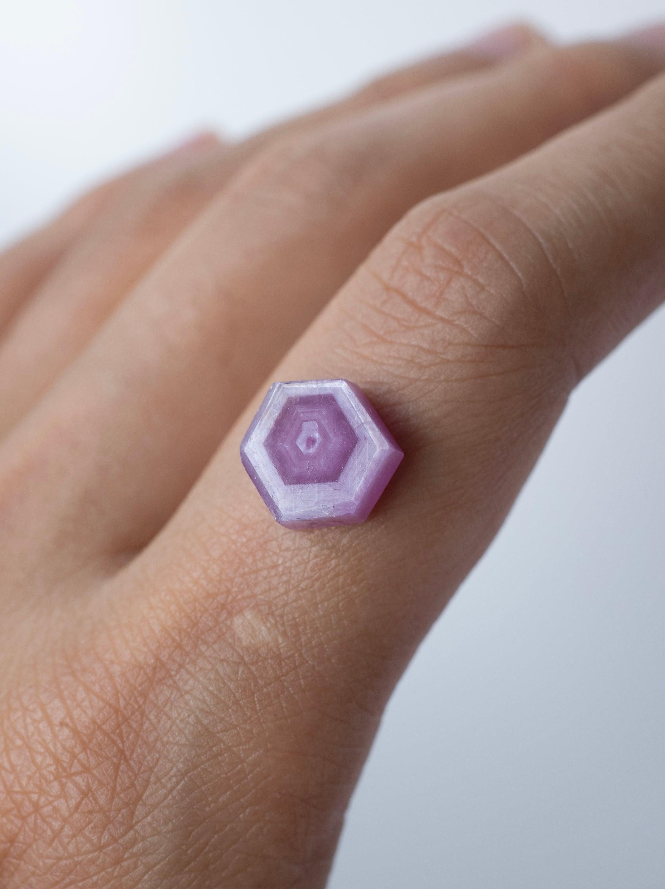 Hexagon Pink Sapphire -001