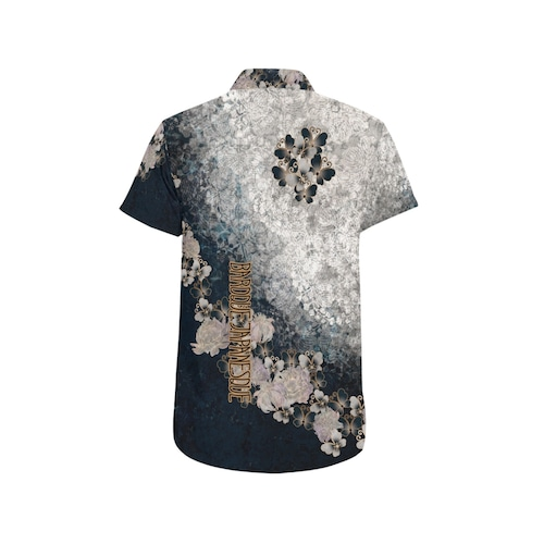 華蝶ブルーホワイト ユニセックス半袖シャツ