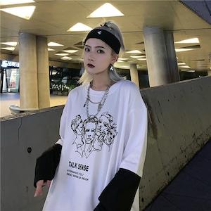 【トップス】ストリート系長袖アルファベットプリントプルオーバーTシャツ43010550