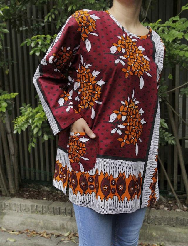 カンガのブラウス|アフリカ布 服 / カンガ服