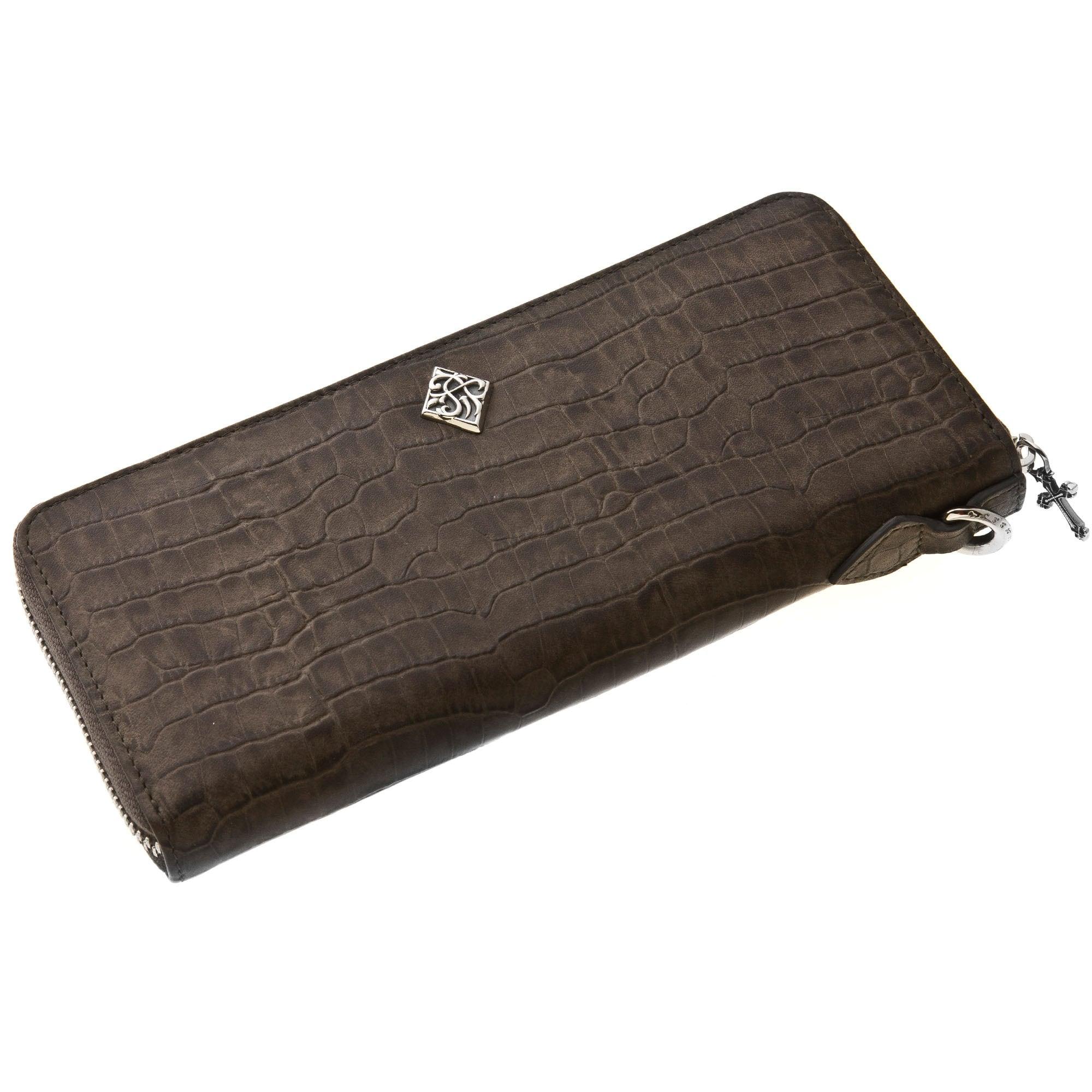 エンボスグレークロコスタイルジップウォレット ACW0010 Embossed gray crocodile zip wallet