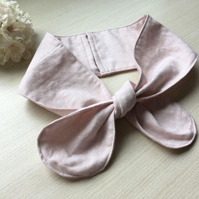 ネッククーラー/ピンクの水玉模様のダブルガーゼ