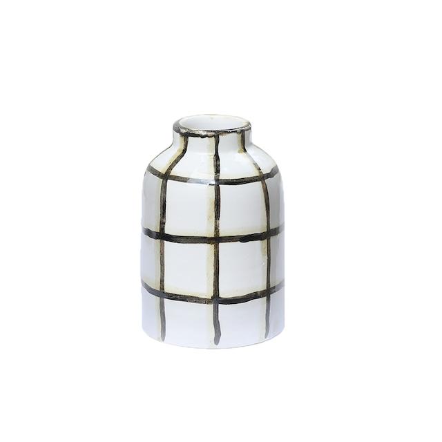 CANASA (カナサ) Flower vase (フラワーベース・花器) チェック柄 S【ブラック①】