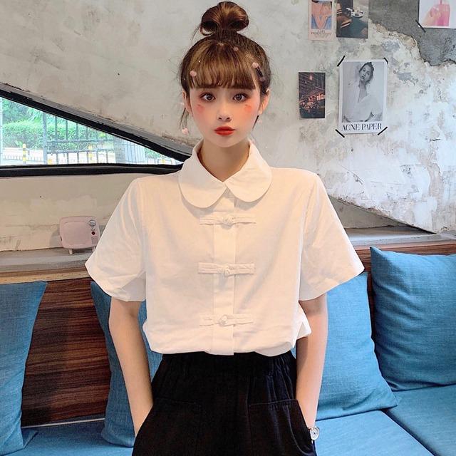チャイナ風シャツ トップス チャイナ風服 民族風 ショート丈 フリーサイズ ホワイト 白い コットン