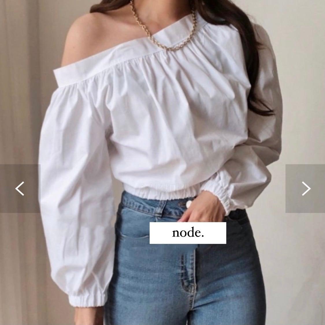 one shoulder crop blouse[2104-24]