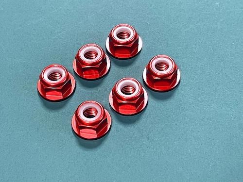 ◆アルミフランジロックナット (深紅色6個セット) CW正回転