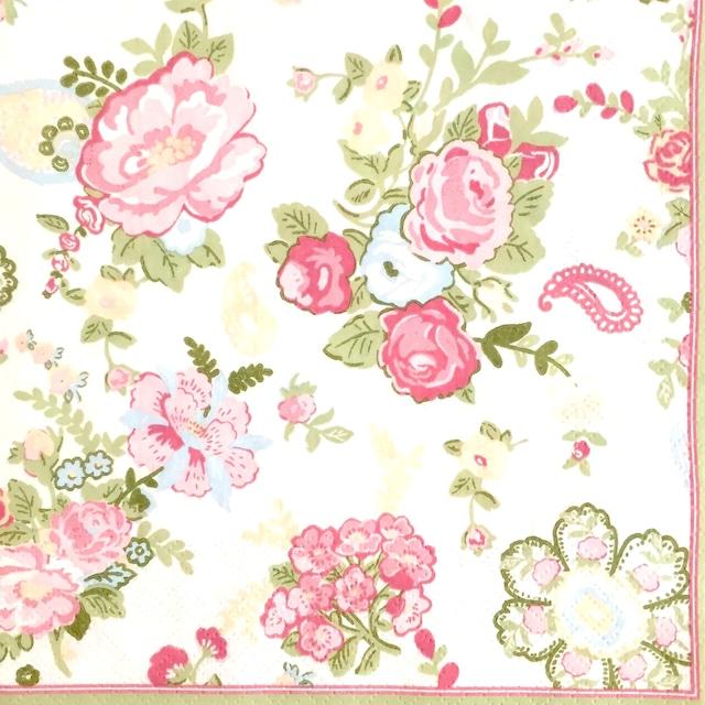 【Maki】バラ売り2枚 ランチサイズ ペーパーナプキン WALLPAPER WITH ROSES ホワイト