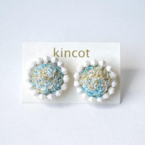 kincot 色糸 小さなまるピアス(ビーズ×ブルーミックス)