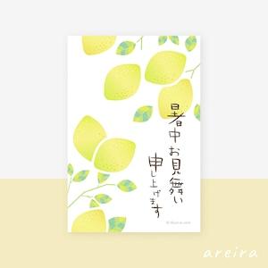 【暑中見舞い】爽やかなレモンの暑中お見舞いカード