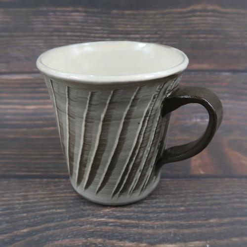 小鹿田焼 手つきフリーカップ 刷毛目 小袋定雄窯