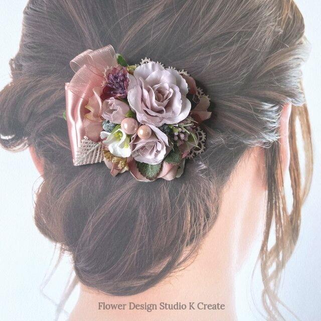 ラベンダーピンクの薔薇とサテンリボンのヘアクリップ 髪飾り  ピンク お出掛け 入学式 卒業式 結婚式 フォーマル