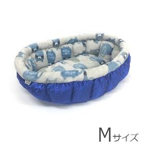 ふーじこちゃんママ手作り ぽんぽんベッド (サテンブルー・しましまねこ柄)Mサイズ 【PB8-107M】