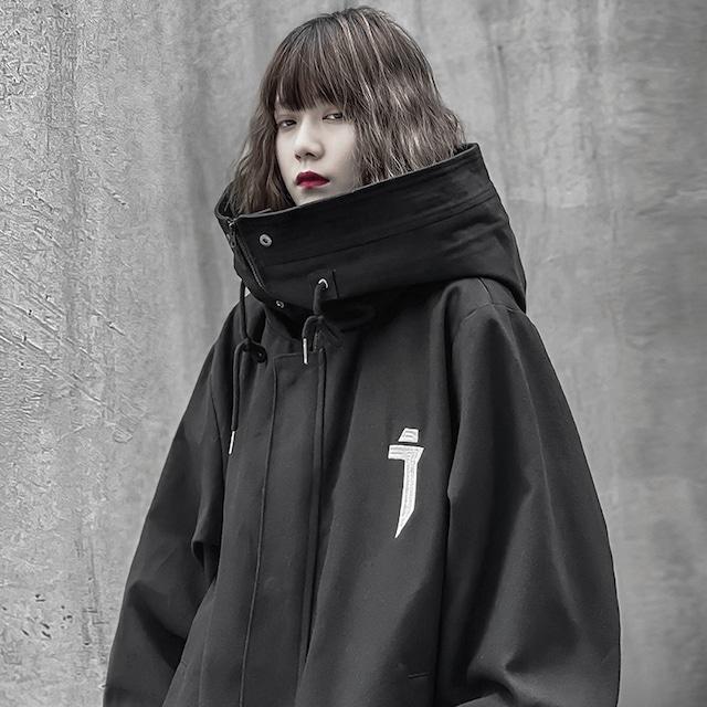 【吉業重工シリーズ】★コート★ ジャケット 2color 黒or白 男女兼用 メンズ カップル服 ゆったり かっこいい