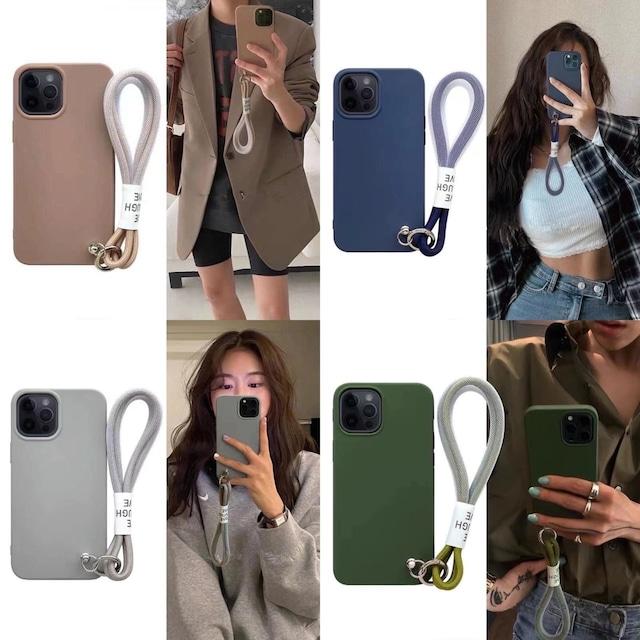 ストラップ付き♪ One color iphone case