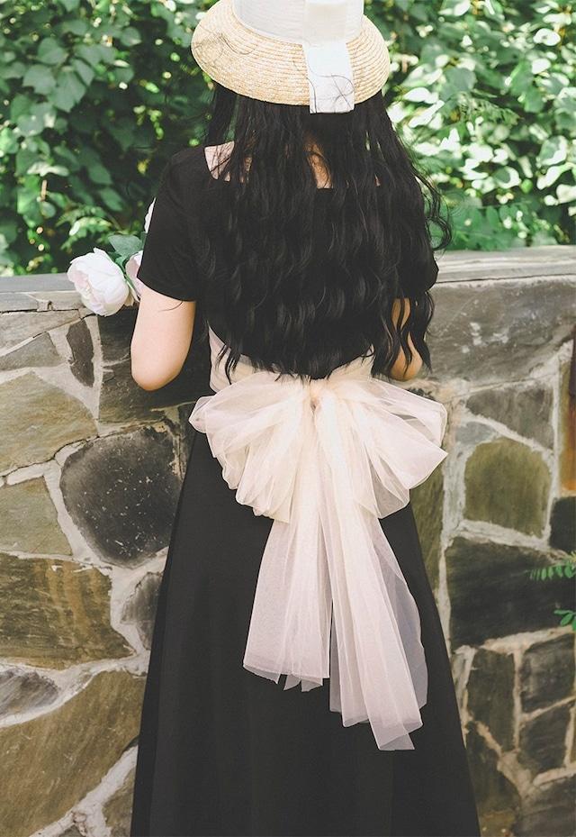 【レトロ バックシフォンリボン パーティードレス ワンピース】 結婚式 ブライズメイド ドレス Aライン ベアトップ ロング