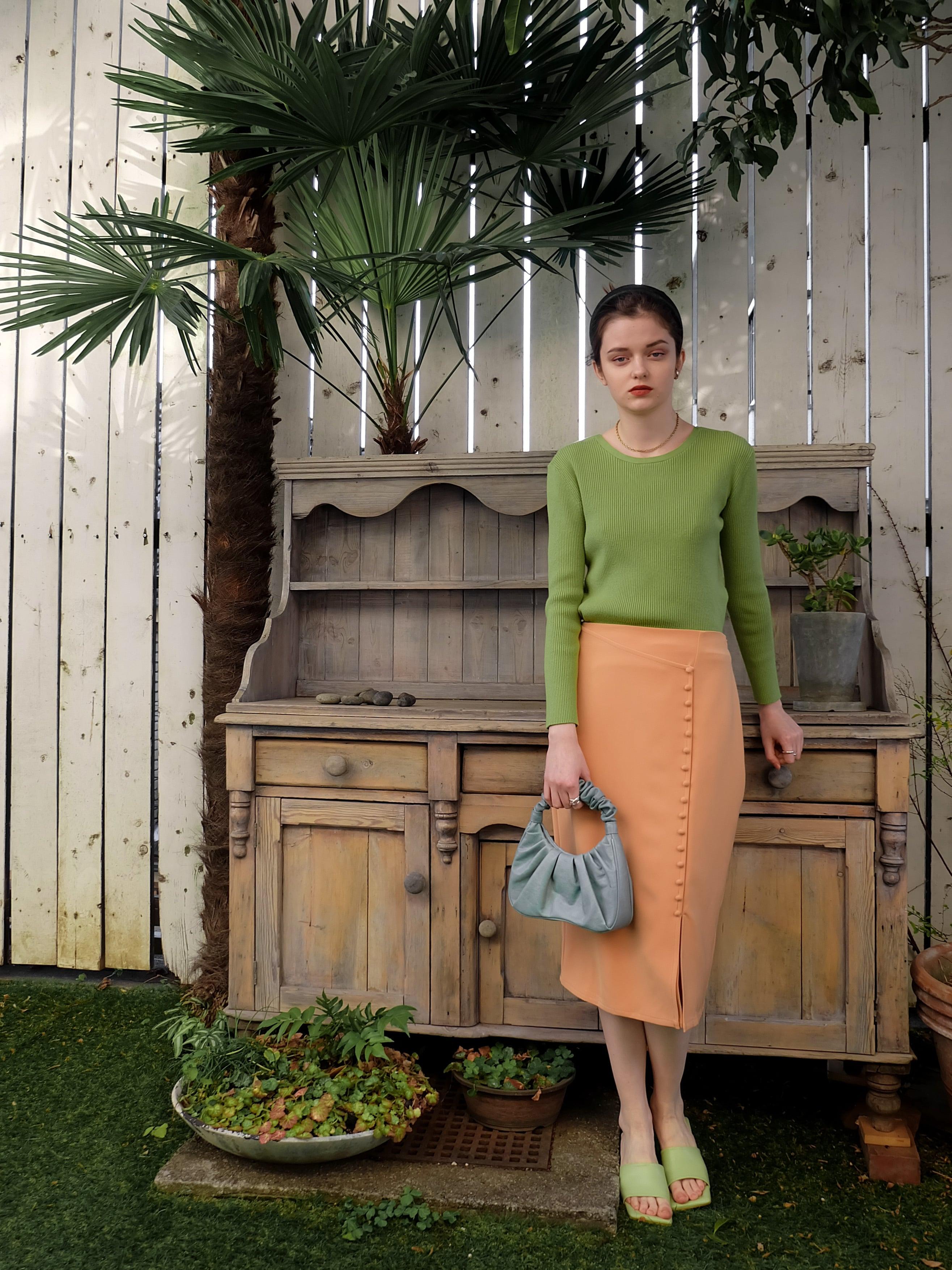 slit covered button skirt(orange)