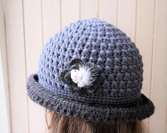 sale★ お花グレーハット ニットハット ブローチ付き 大人可愛い帽子 おしゃれニット帽子