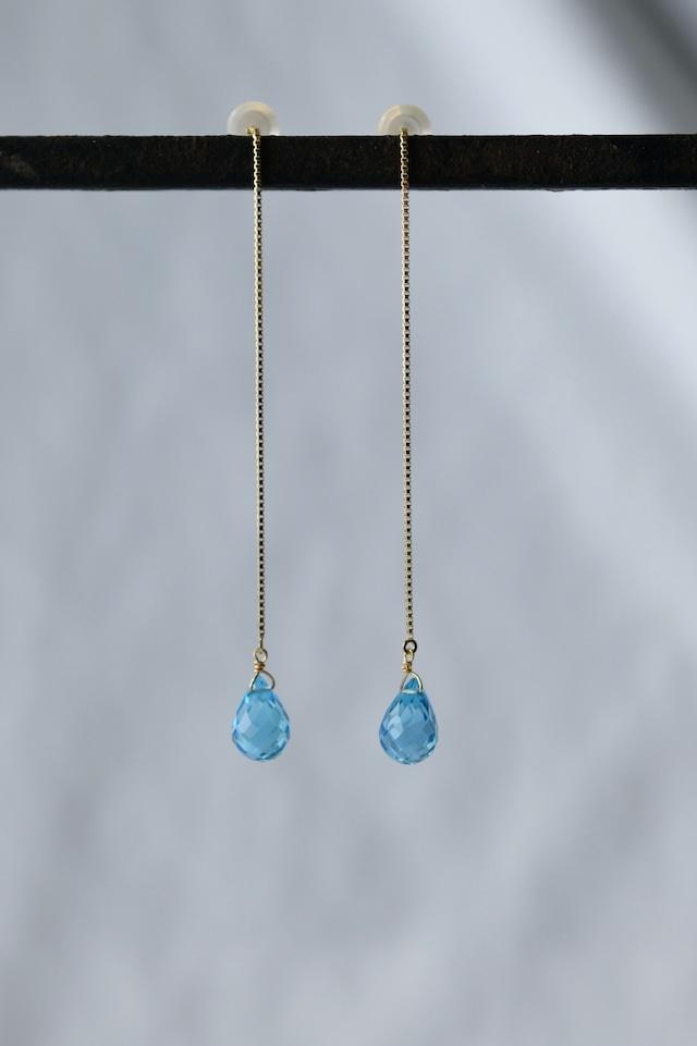 K18 Swiss Blue Topaz Chain Earrings 18金スイスブルートパーズチェーンピアス/イヤリング