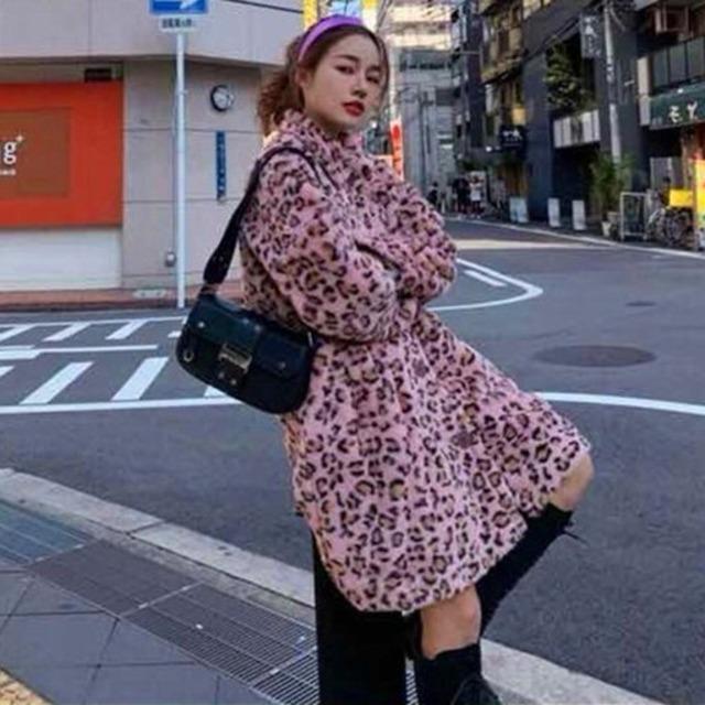 【アウター】ファッションフアーヒョウ柄長袖コート42919449