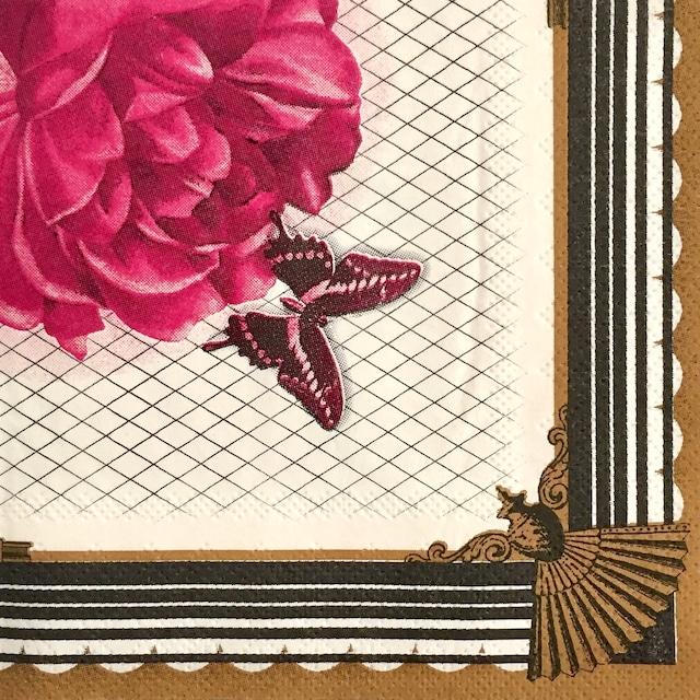 イギリス【Talking Tables】バラ売り1枚 カクテルサイズ ペーパーナプキン SOCIAL SOIREE ピンク