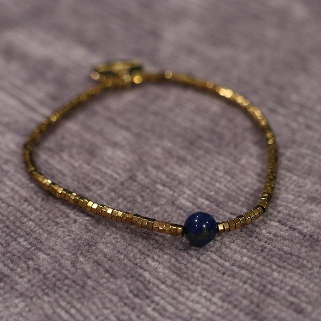 【COSMIC BLUE】ラピスラズリ×ヘマタイト +ラブラドライト×ヘマタイト 2連ブレスレット