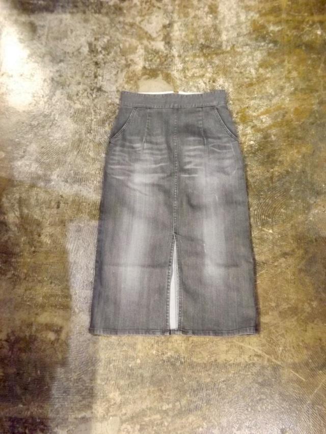 Women {CL010-5565 }  Black Denim skirt  {Vintage Black } ミモレ丈, 日本製.岡山製ストレッチデニム, ブラックデニム,