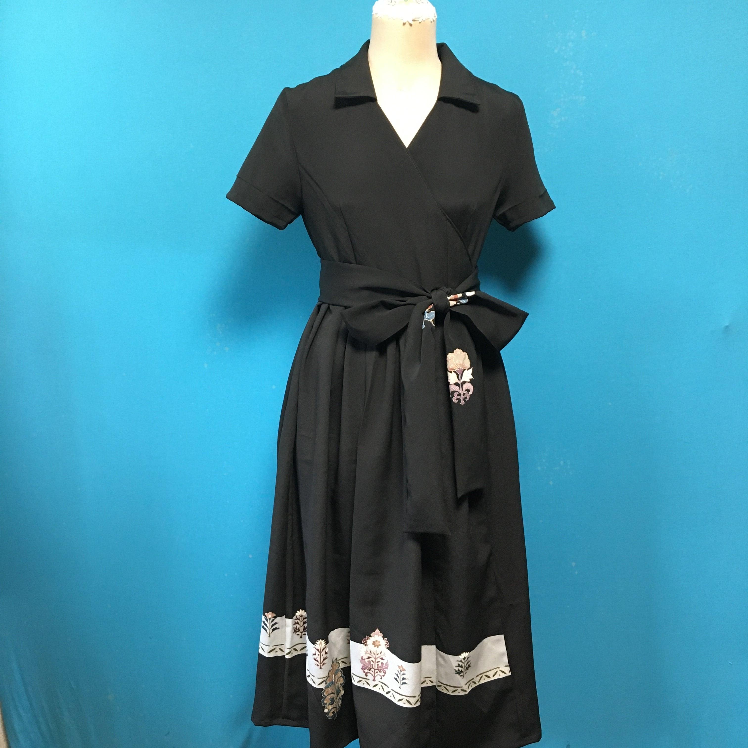 Vintage black dress 古典刺繍更紗