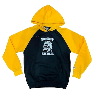 RUGBY SKULL Pullover Hoody Black × Yellow