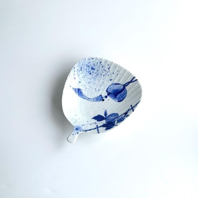 【限定数】染付朝顔風鈴 うちわ型皿