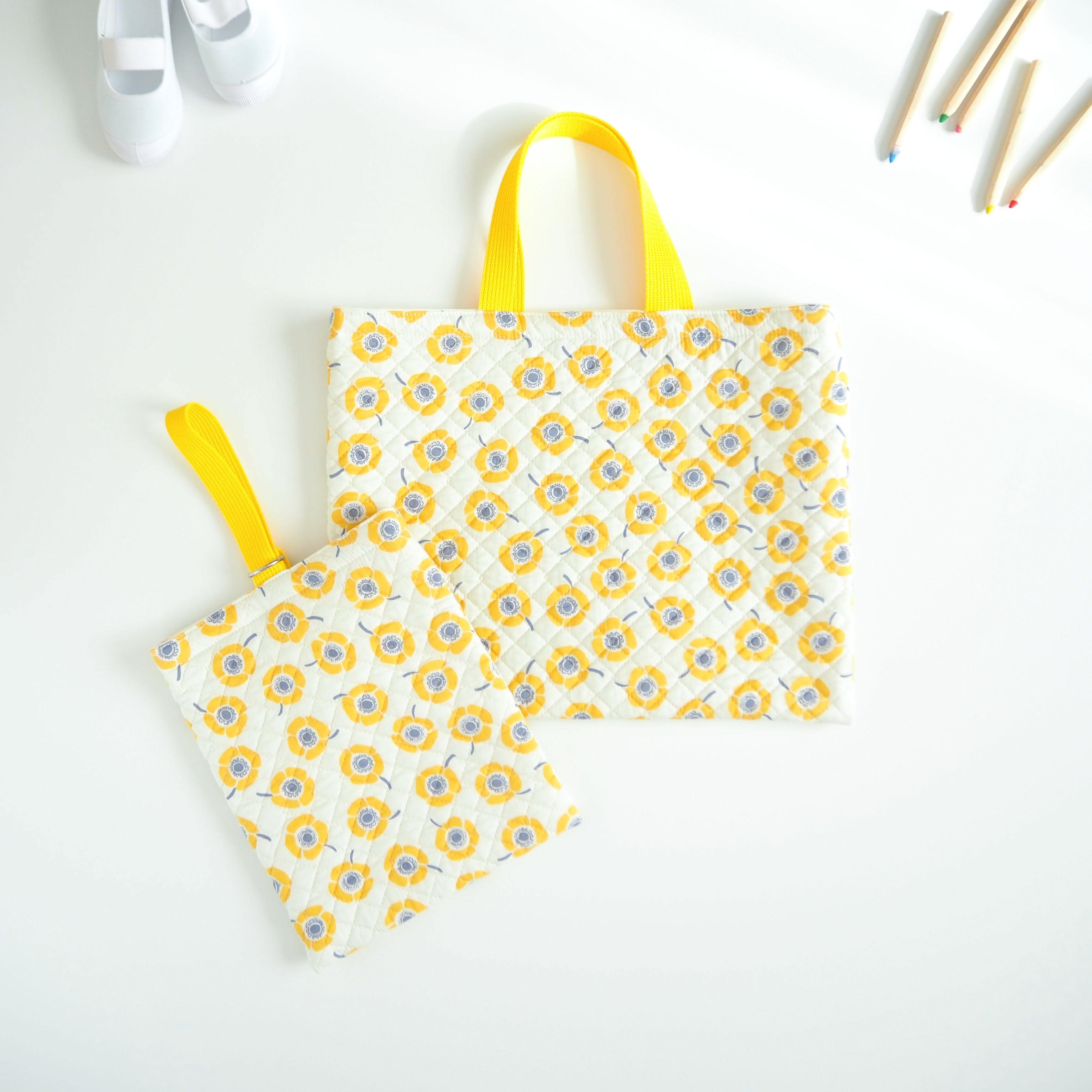 女の子のためのレッスンバッグ&上履き入れ/黄色