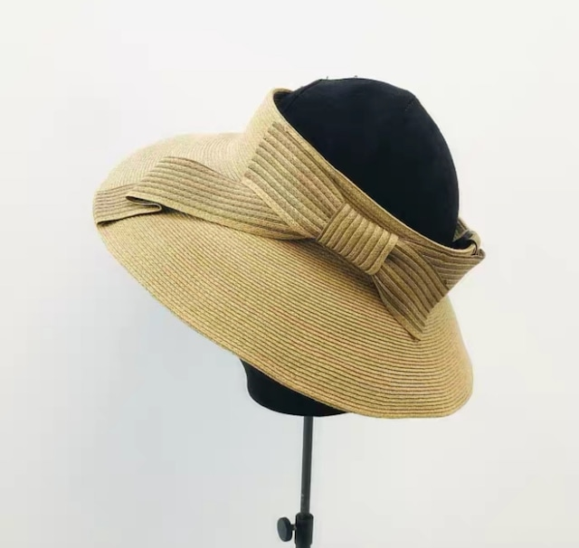 【帽子】90%UVカット ボーダーおリボン サンバイザー・ナチュラル