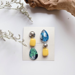 """ Earrings NO.danoan-45″ リバティとアシメドイツビーズ"