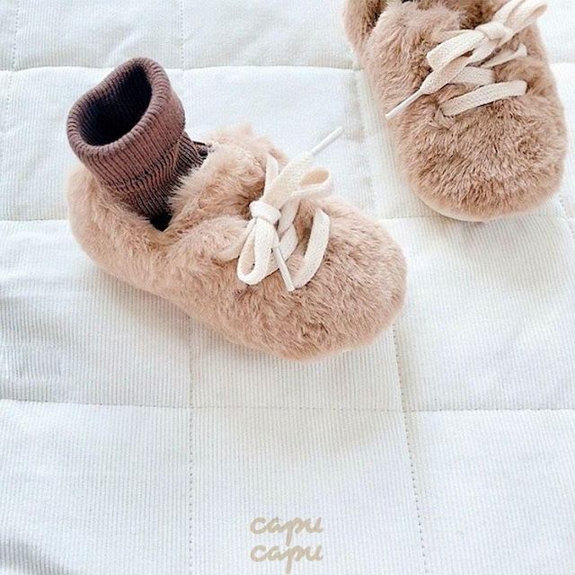 «予約» fake fur shoes 2colors フェイクファーシューズ 子供靴 キッズシューズ