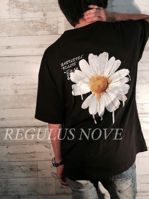 【メール便対応】 REGULUS NOVE DAISYプリントメッセージBIGTシャツ BLACK ユニセックス レディース メンズ オーバーサイズ 大きいサイズ 派手 韓国 プリント 個性的 ストリート ロック