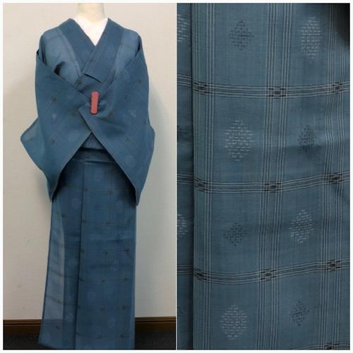 ★ かすり 絣 夏 薄物 正絹    水色系 着物 小紋★ 3303