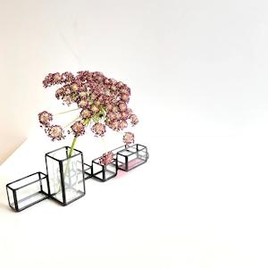 一輪挿し  [ 井上ヒデコ ステンドグラス ] with PINK H65