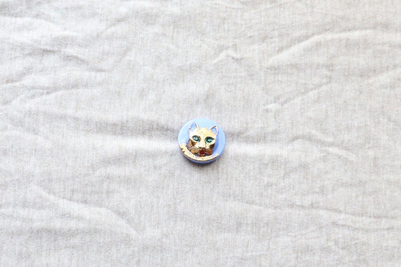 【チェコ】猫のガラスボタン/水色