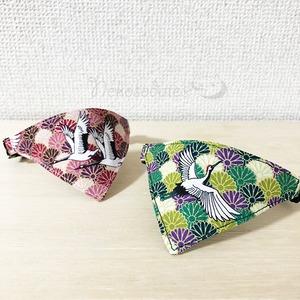 【鶴に菊柄】猫用バンダナ風首輪/選べるセーフティバックル 猫首輪