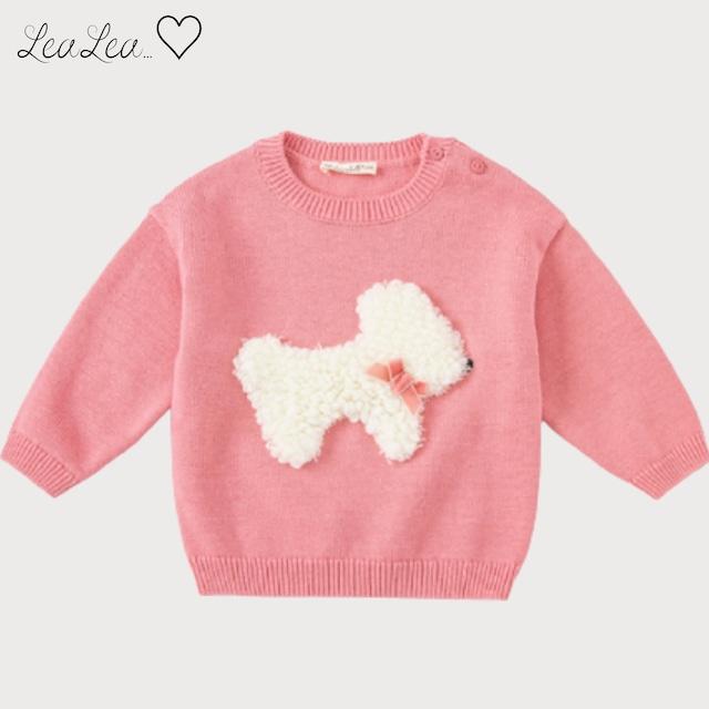 dave&bella2021AW新作♡もこもこプードルデザインピンクニットトップス(73cm-140cm)| LeaLea...♡(レアレア)-海外の子供服セレクトショップ