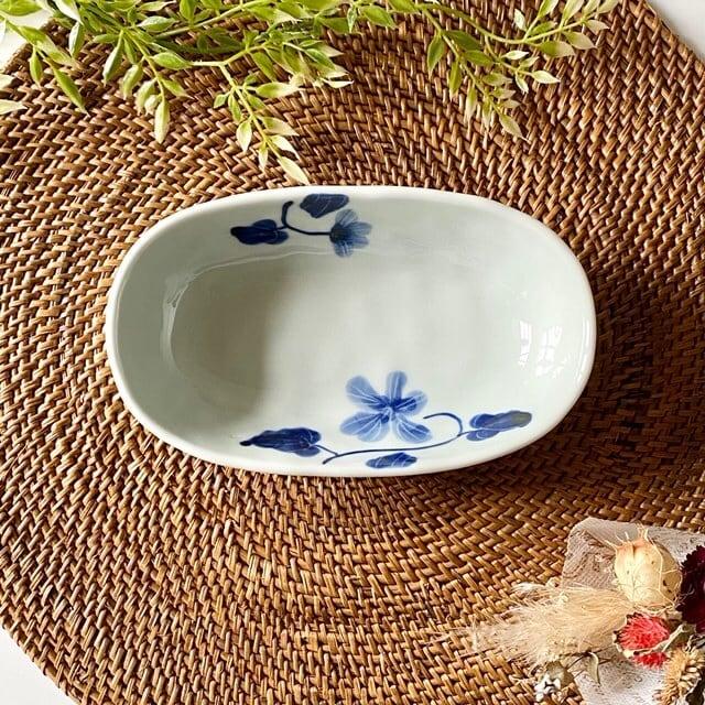 花もよう(スミレ) オーバル鉢(小)