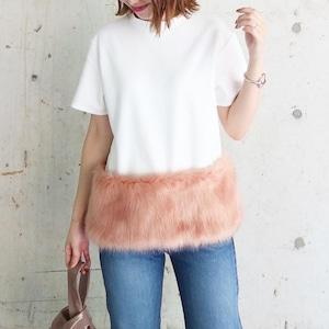 エコファーTシャツ(ホワイト×ピンク)